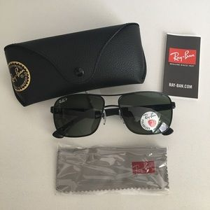 NWT Ray-Ban RB3516-006/9A Black Sunglasses